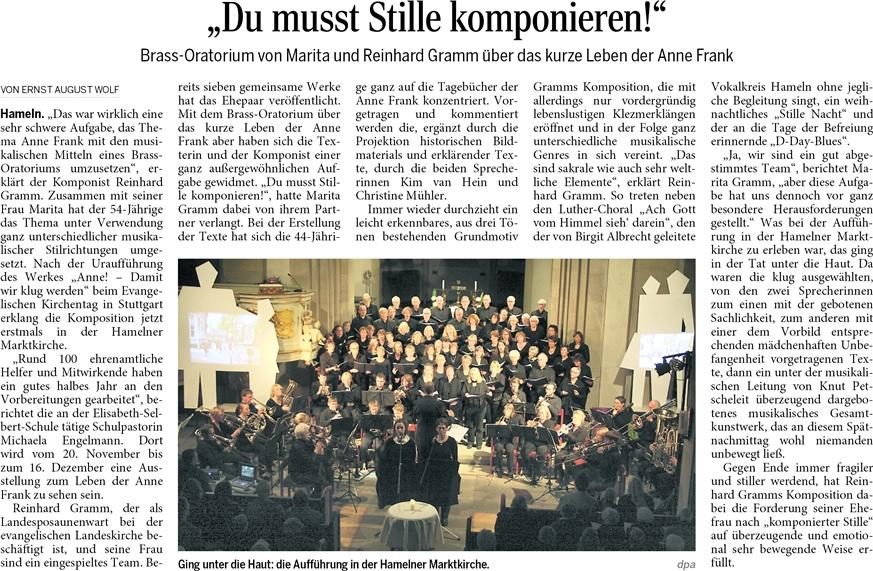 Zeitungsbericht zum Auftritt in Hameln